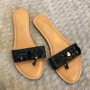 Black Onyx Jeweled Sandals